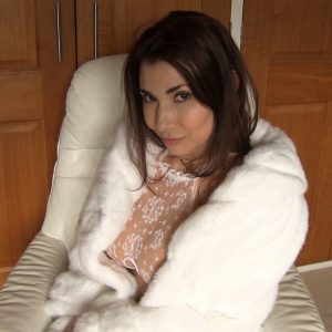 Tara Tainton in a white fur coat