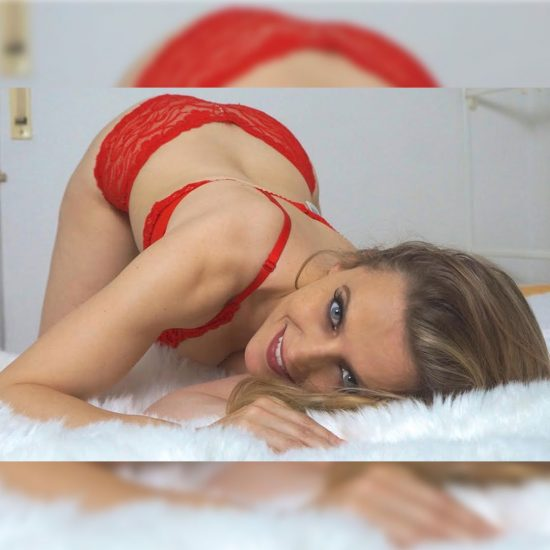 Anja Little in red lingerie