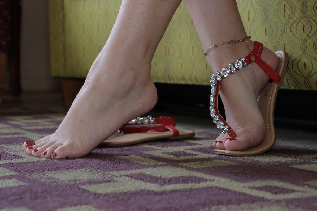myprettyfeet8 red rhinestone sandals